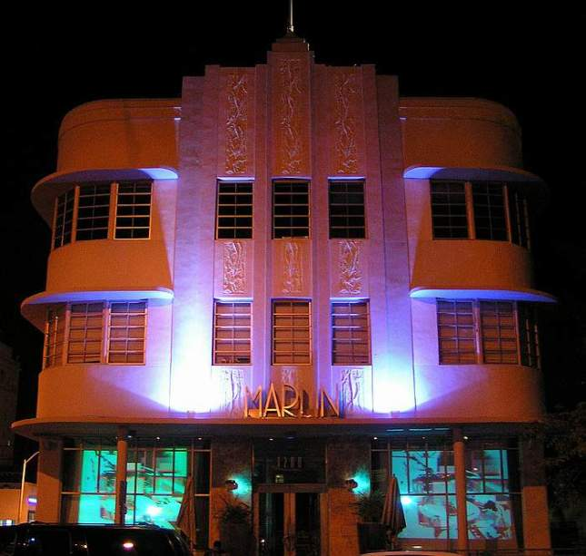 South Beach Fl. Art Deco Édifice Le Marlin